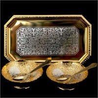 Silver And Gold Palted Bowl Set Square Shape