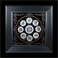 Wooden Pure Silver Ashtvinayak Darshan  Frame