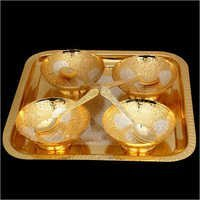 Silver And Gold Plated Bowl With Tray And Spoon