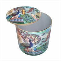 Decorative Printed Wooden Round Box