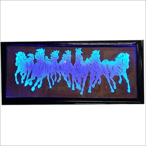 Seven horse engrave on Glass