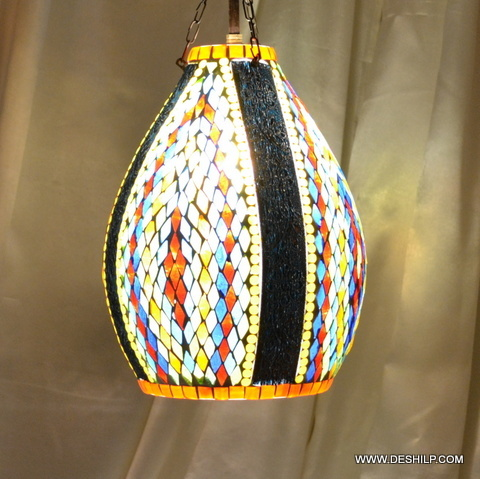 Mosaic art colorful glass hanging pendant light night lamp light decoration tiffany