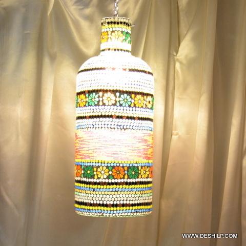 Med Mosaic Glass Candle Holder Hurricane