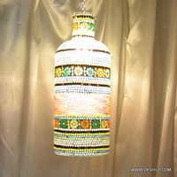 Med Mosaic Glass Candle Holder Hurricane