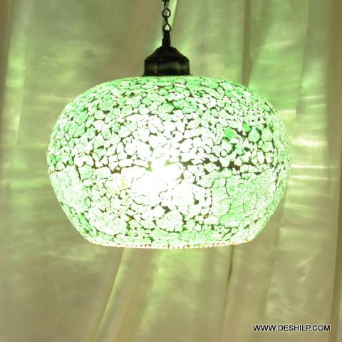 GREEN CREAK GLASS HANGING,DECORATIVE RESIDENTIAL HANGING