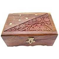 Wooden Jewelry Box Handicrafted Flower Carving Gift, 6 Inches