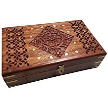 Special Gift at Fathers Day Wooden Carving Inlay Jali Work Jewelry Box, 10X6 inch Vintage Box