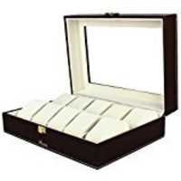 Black and white wooden Watch Box for 10 watches transparent lid
