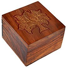 Wooden Jewellery Box with Super Fine Inlay Brass Hand Carving Work