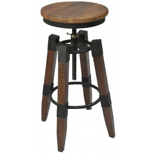 Renfrew adjustable height iron/wood stool