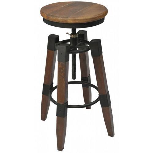 Renfrew adjustable height iron/wood stool