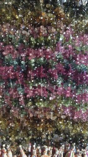 Multi Tourmaline Cut Pears Beads