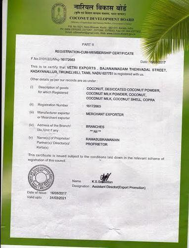 Coconut Bord Certificate