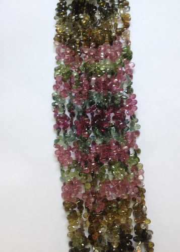 Multi Tourmaline Faceted Pears Beads