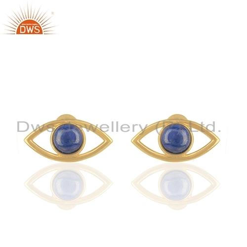 Natural Lapis Gemstone Evil Eye Stud Earring