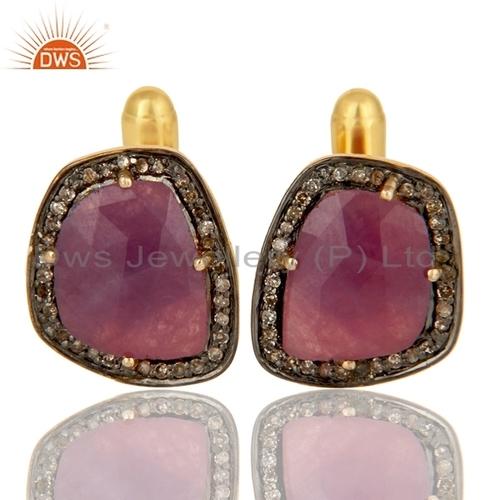 14k Gold Silver Ruby Pave Diamond Cufflink