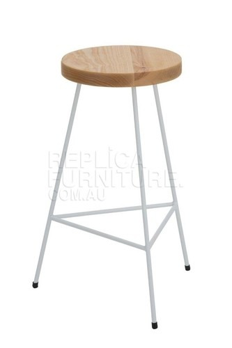 Industrial wire white tripod stool