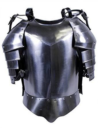Medieval Times Shoulder Guard Steel Breastplate One Size Fits Most Silver