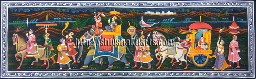 Rajasthani royal procession painting ethnic folk art