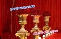 Decorated Wedding Golden Fiber Pot Pillars