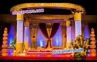 Golden Fiber Carved Crystal Mandap