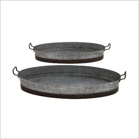 Galvanized Antique Tray Set