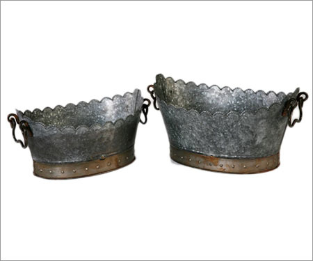 Galvanised Metal Planter