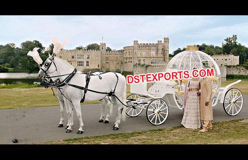 White Cinderella Wedding Pink Carriage