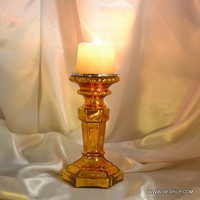 Amber Golden Finish Gls Pillar Candle Holder with Metal Polished Silver Candlestick