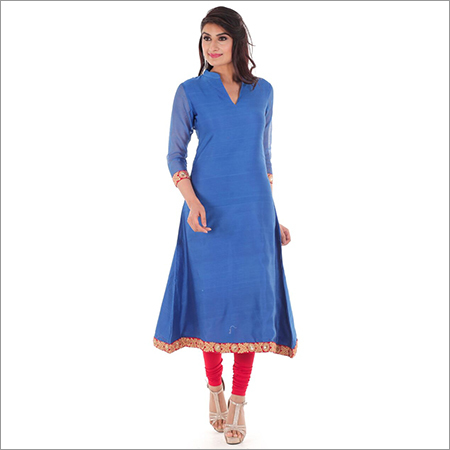 Ladies Blue Plain Kurti
