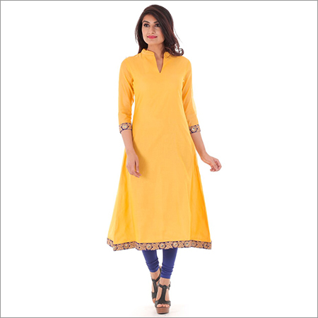 Ladies Yellow Plain Kurtis