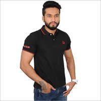 Customized Black Solid Polo T-Shirt