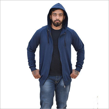 Customized Blue Zipper Hoodie