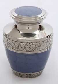 Blue Enameled Silver Engraved Brass Pet Urn