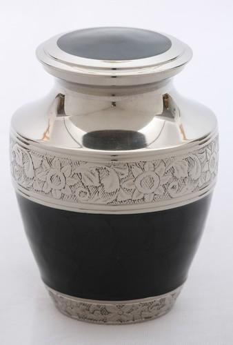 Black Engraved Silver Urn