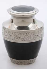 Black Engraved Silver Urn