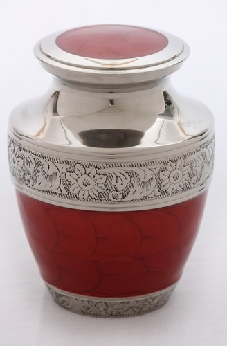 Red Enameled Silver Engraved