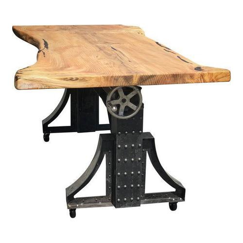 Live Edge Industrial Hand Mechanism Crank Table