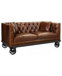 Indian Industrial Vintage Leather Sofa on wheels