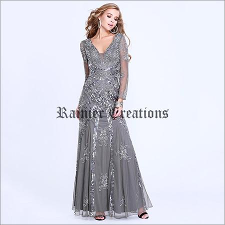 Ladies Full Sleeves Designer Gown