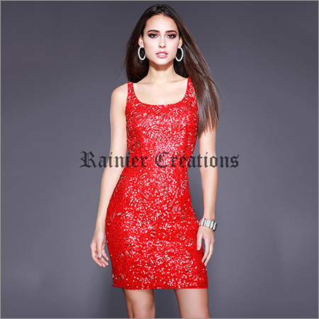 Ladies Red One Piece Dress