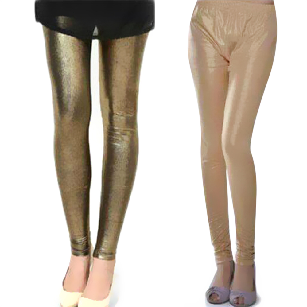 Ladies Plain Shimmer Leggings