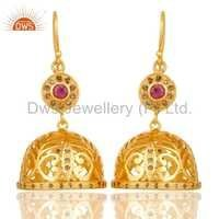 Ruby Gemstone Diamond Traditional Earrings