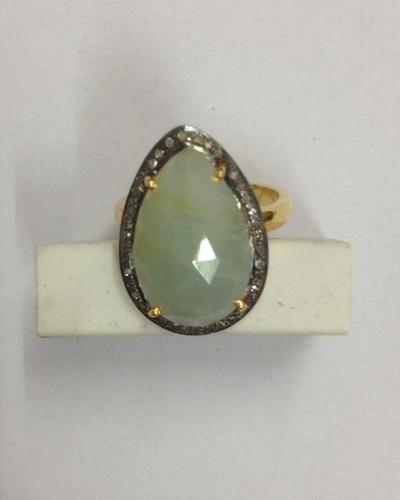 Diamond Green Sapphire Ring