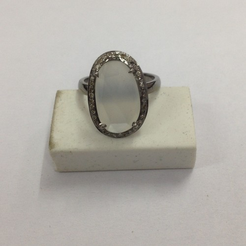 White Moonstone  Diamond Ring
