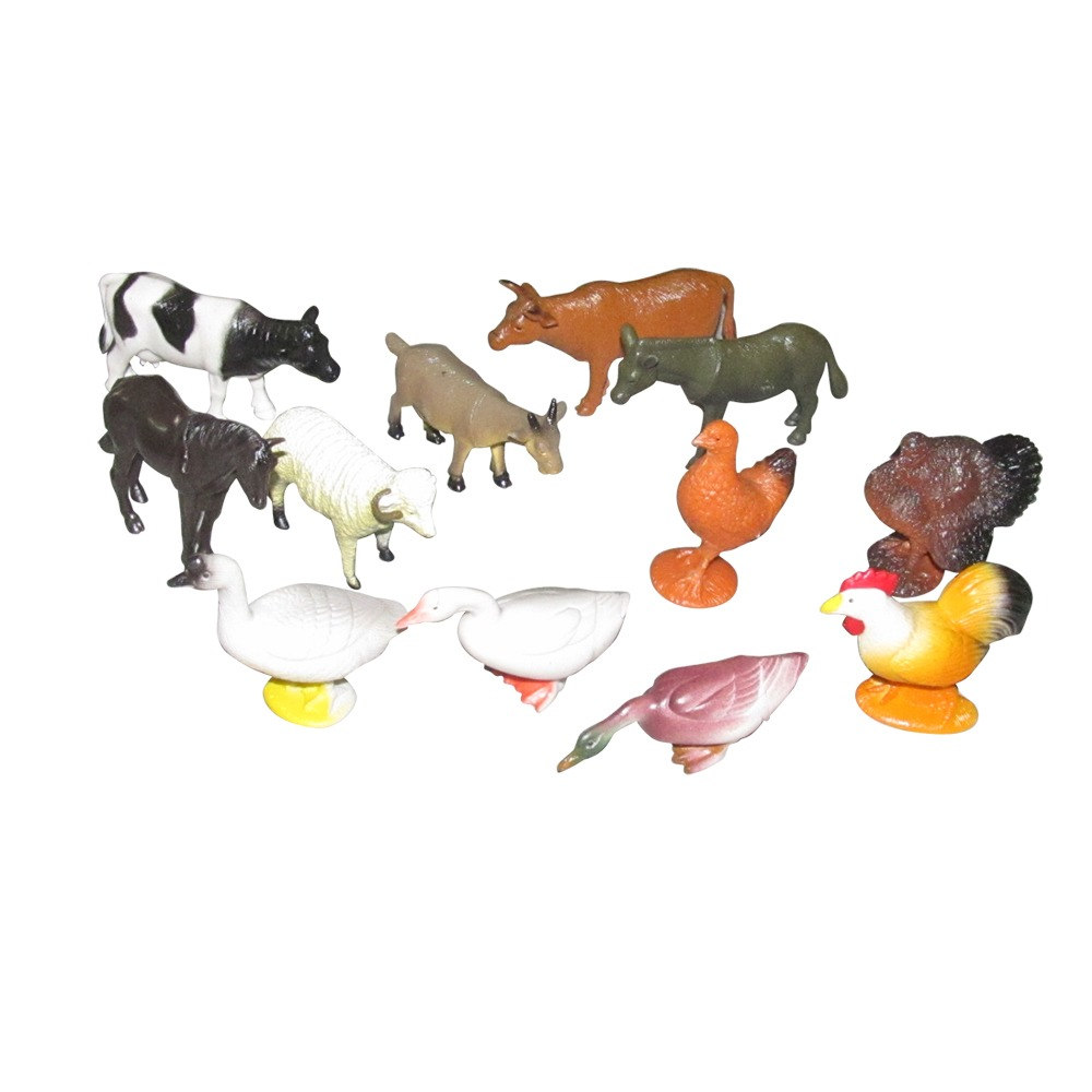 PTCMART Farm Animals Figures Set For Kids,Pack Of 12