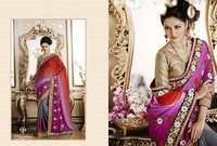 Shaded Colour Embroidered Saree Online
