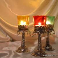 Glass Pillar Votive Tealight Candle Holder with Metal