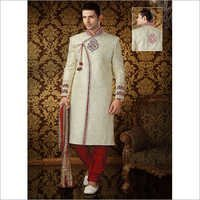 Cream Colour Banarasi Silk Sherwani