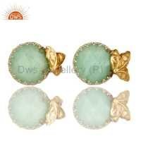 Chrysoprase Gemstone Stud Earrings